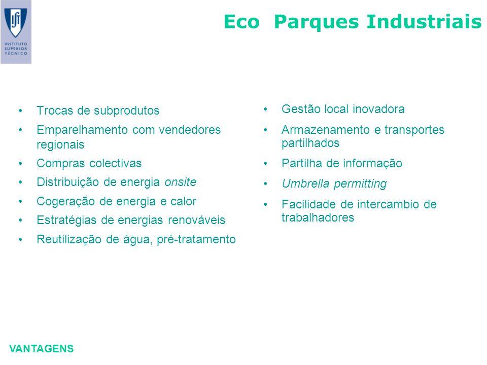 Eco Parques Industriais VANTAGENS Trocas de subprodutos Emparelhamento com vendedores regionais Compras colectivas Distribuição de energia onsite Coge