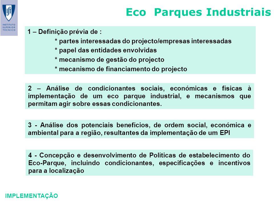 Eco Parques Industriais IMPLEMENTAÇÃO 1 – Definição prévia de : * partes interessadas do projecto/empresas interessadas * papel das entidades envolvid
