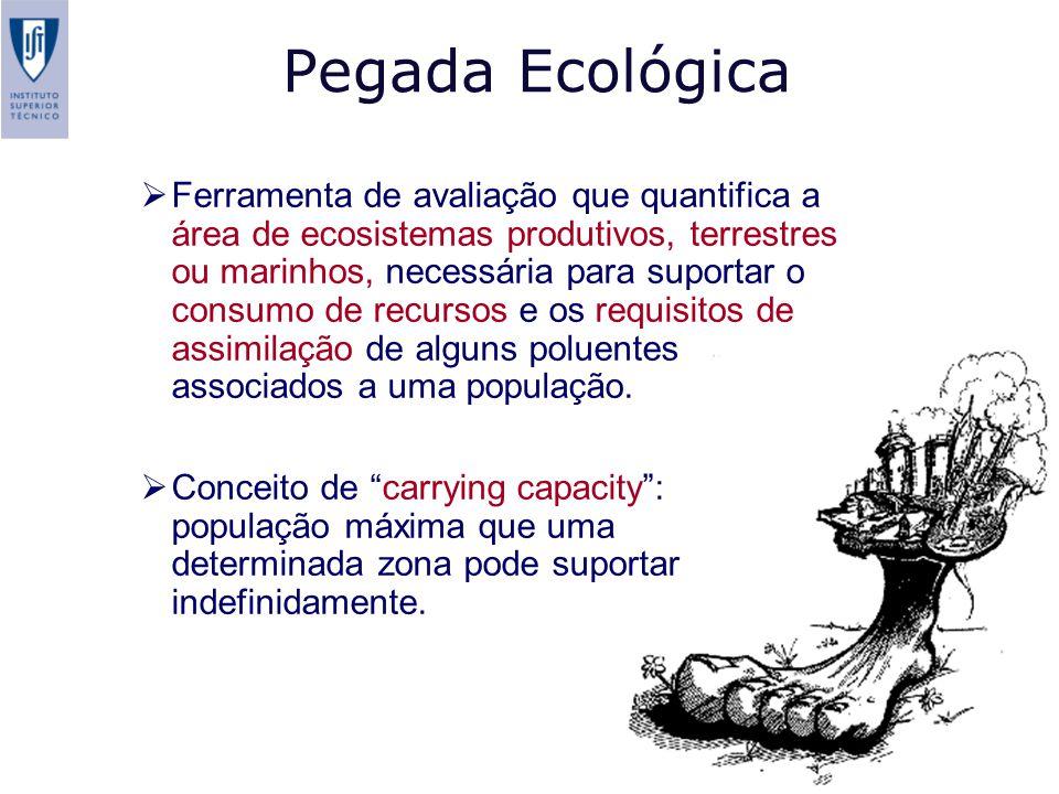 Pegada Ecológica Ferramenta de avaliação que quantifica a área de ecosistemas produtivos, terrestres ou marinhos, necessária para suportar o consumo de recursos e os requisitos de assimilação de alguns poluentes associados a uma população.