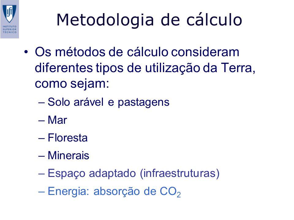 Metodologia de cálculo Os métodos de cálculo consideram diferentes tipos de utilização da Terra, como sejam: –Solo arável e pastagens –Mar –Floresta –Minerais –Espaço adaptado (infraestruturas) –Energia: absorção de CO 2