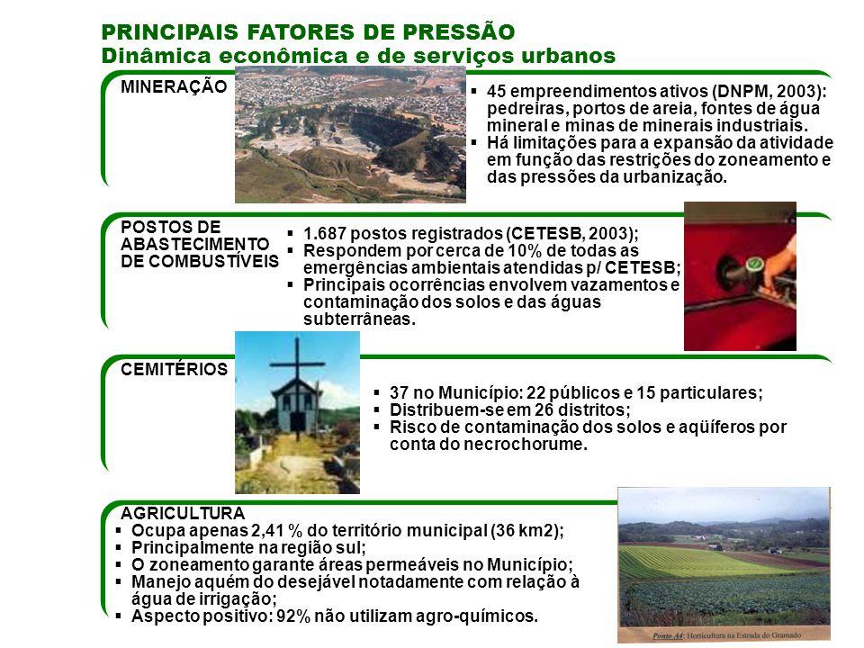 PRINCIPAIS FATORES DE PRESSÃO Dinâmica econômica e de serviços urbanos MINERAÇÃO POSTOS DE ABASTECIMENTO DE COMBUSTÍVEIS CEMITÉRIOS 45 empreendimentos