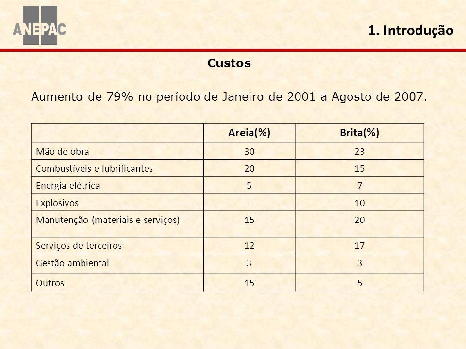 1. Introdução Custos Aumento de 79% no período de Janeiro de 2001 a Agosto de 2007. Areia(%)Brita(%) Mão de obra3023 Combustíveis e lubrificantes2015