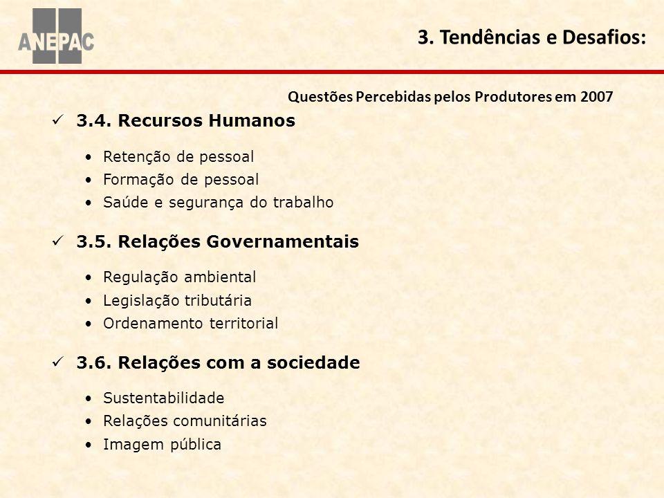 3.4. Recursos Humanos Retenção de pessoal Formação de pessoal Saúde e segurança do trabalho 3.5. Relações Governamentais Regulação ambiental Legislaçã