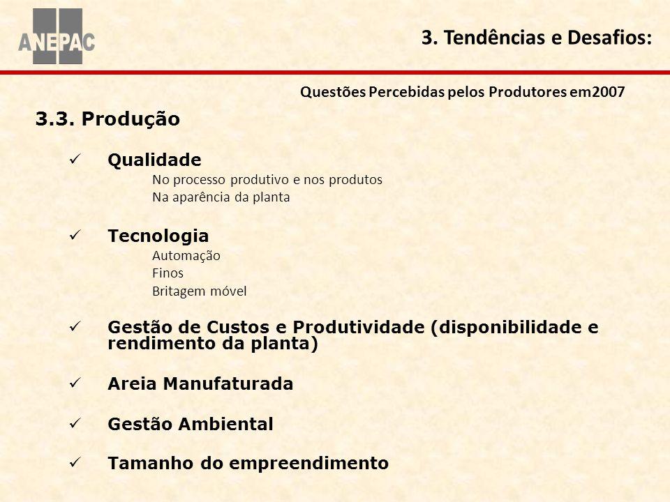 3.3. Produção Qualidade No processo produtivo e nos produtos Na aparência da planta Tecnologia Automação Finos Britagem móvel Gestão de Custos e Produ