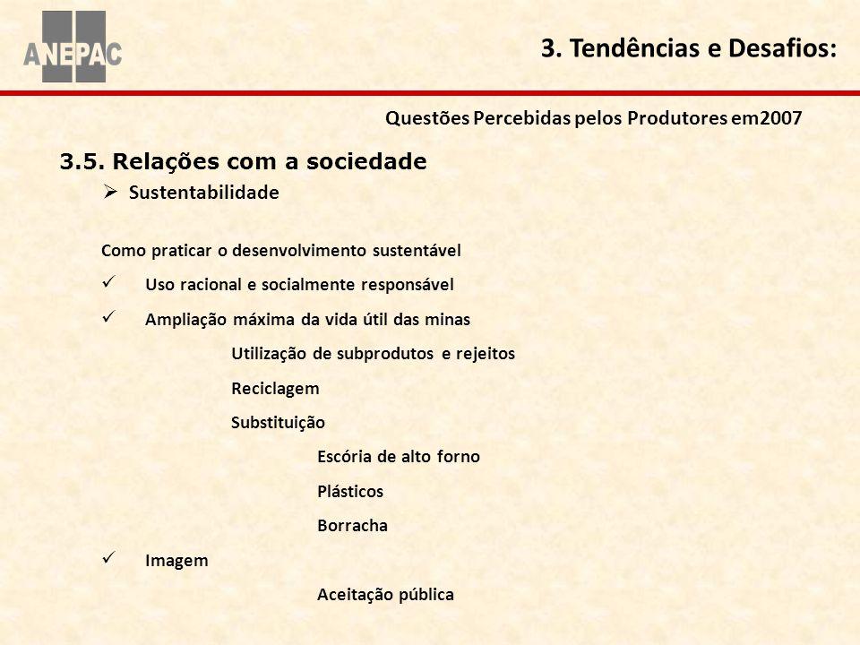 3.5. Relações com a sociedade Sustentabilidade Questões Percebidas pelos Produtores em2007 3. Tendências e Desafios: Como praticar o desenvolvimento s