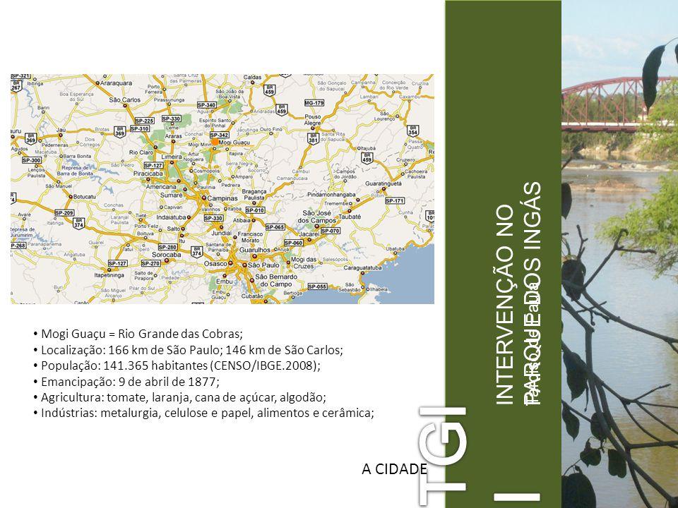 Tarciso de Paula INTERVENÇÃO NO PARQUE DOS INGÁS A CIDADE Mogi Guaçu = Rio Grande das Cobras; Localização: 166 km de São Paulo; 146 km de São Carlos;