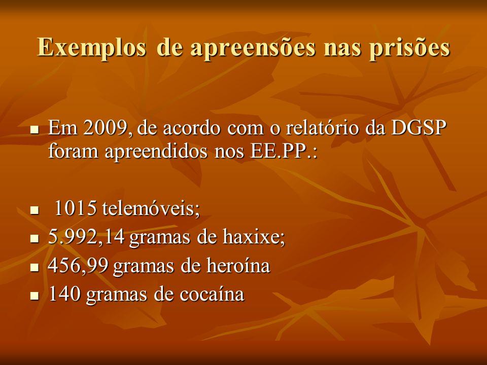 Exemplos de apreensões nas prisões Em 2009, de acordo com o relatório da DGSP foram apreendidos nos EE.PP.: Em 2009, de acordo com o relatório da DGSP