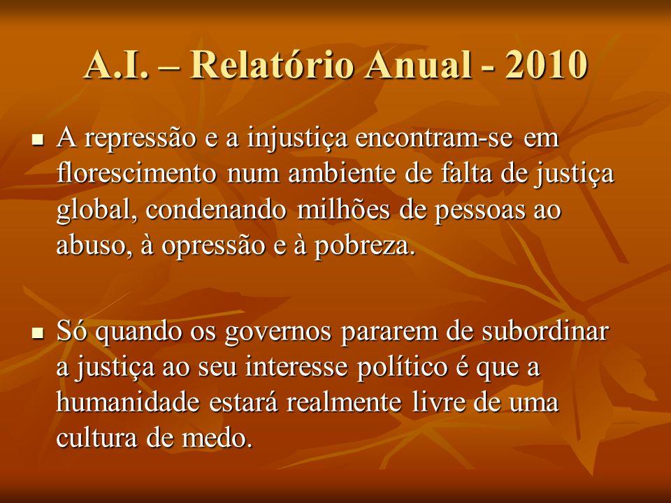 A.I. – Relatório Anual - 2010 A repressão e a injustiça encontram-se em florescimento num ambiente de falta de justiça global, condenando milhões de p