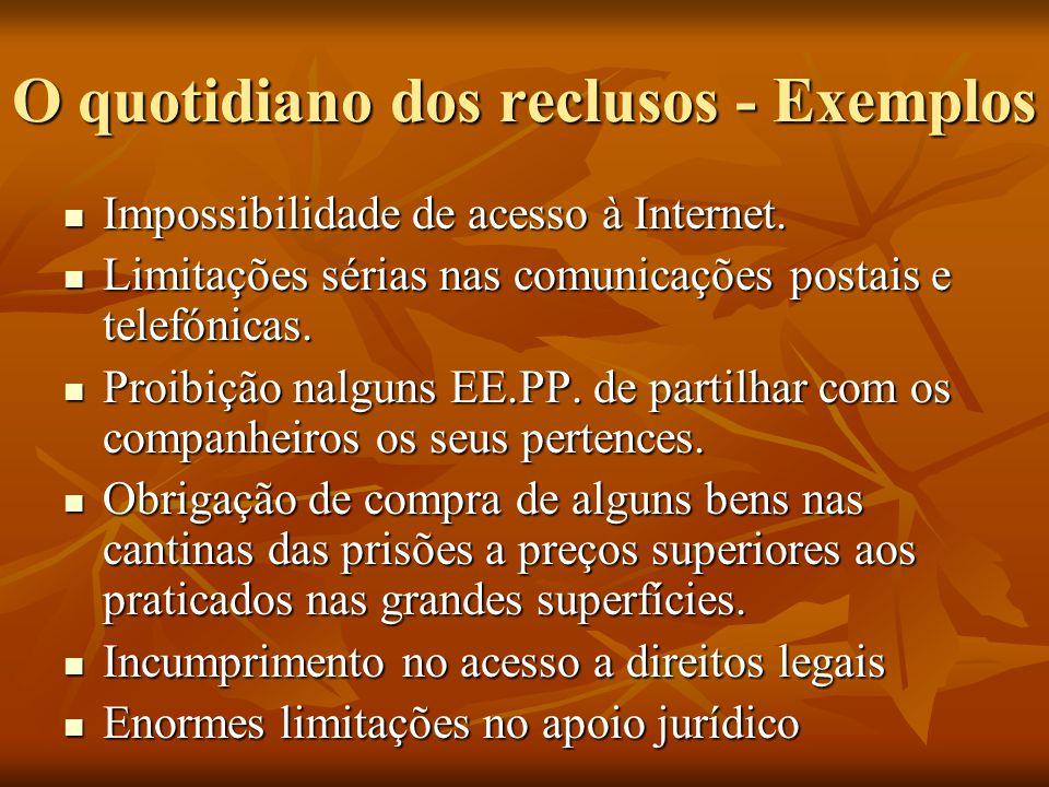 O quotidiano dos reclusos - Exemplos Impossibilidade de acesso à Internet. Impossibilidade de acesso à Internet. Limitações sérias nas comunicações po