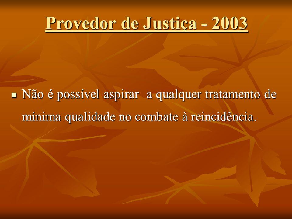 Provedor de Justiça - 2003 Não é possível aspirar a qualquer tratamento de mínima qualidade no combate à reincidência. Não é possível aspirar a qualqu