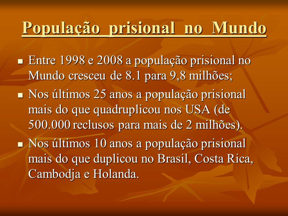 Entre 1998 e 2008 a população prisional no Mundo cresceu de 8.1 para 9,8 milhões; Entre 1998 e 2008 a população prisional no Mundo cresceu de 8.1 para