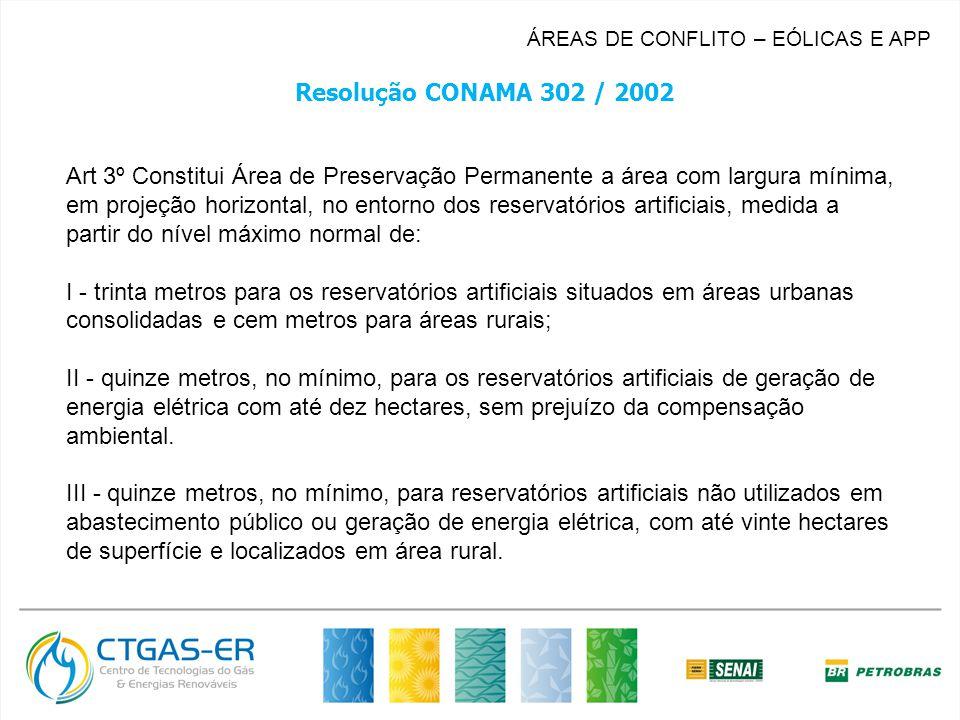 ÁREAS DE CONFLITO – EÓLICAS E APP Resolução CONAMA 302 / 2002 Art 3º Constitui Área de Preservação Permanente a área com largura mínima, em projeção horizontal, no entorno dos reservatórios artificiais, medida a partir do nível máximo normal de: I - trinta metros para os reservatórios artificiais situados em áreas urbanas consolidadas e cem metros para áreas rurais; II - quinze metros, no mínimo, para os reservatórios artificiais de geração de energia elétrica com até dez hectares, sem prejuízo da compensação ambiental.