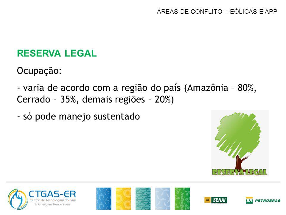 ÁREAS DE CONFLITO – EÓLICAS E APP RESERVA LEGAL Ocupação: - varia de acordo com a região do país (Amazônia – 80%, Cerrado – 35%, demais regiões – 20%) - só pode manejo sustentado