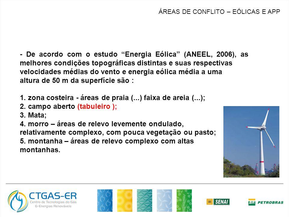 MERCADO ÁREAS DE CONFLITO – EÓLICAS E APP - De acordo com o estudo Energia Eólica (ANEEL, 2006), as melhores condições topográficas distintas e suas respectivas velocidades médias do vento e energia eólica média a uma altura de 50 m da superfície são : 1.