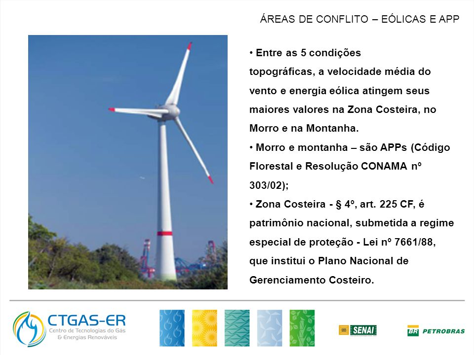 MERCADO ÁREAS DE CONFLITO – EÓLICAS E APP Entre as 5 condições topográficas, a velocidade média do vento e energia eólica atingem seus maiores valores na Zona Costeira, no Morro e na Montanha.