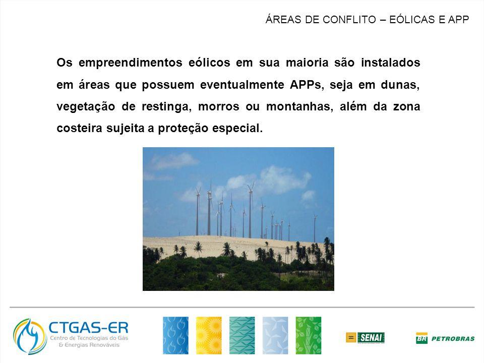 MERCADO ÁREAS DE CONFLITO – EÓLICAS E APP Os empreendimentos eólicos em sua maioria são instalados em áreas que possuem eventualmente APPs, seja em dunas, vegetação de restinga, morros ou montanhas, além da zona costeira sujeita a proteção especial.