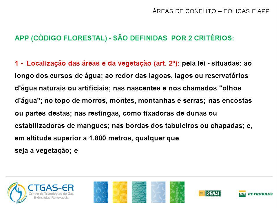 ÁREAS DE CONFLITO – EÓLICAS E APP APP (CÓDIGO FLORESTAL) - SÃO DEFINIDAS POR 2 CRITÉRIOS: 1 - Localização das áreas e da vegetação (art. 2º): pela lei