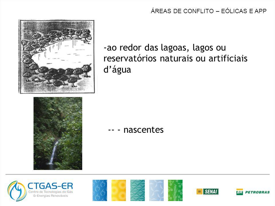 ÁREAS DE CONFLITO – EÓLICAS E APP -ao redor das lagoas, lagos ou reservatórios naturais ou artificiais dágua -- - nascentes