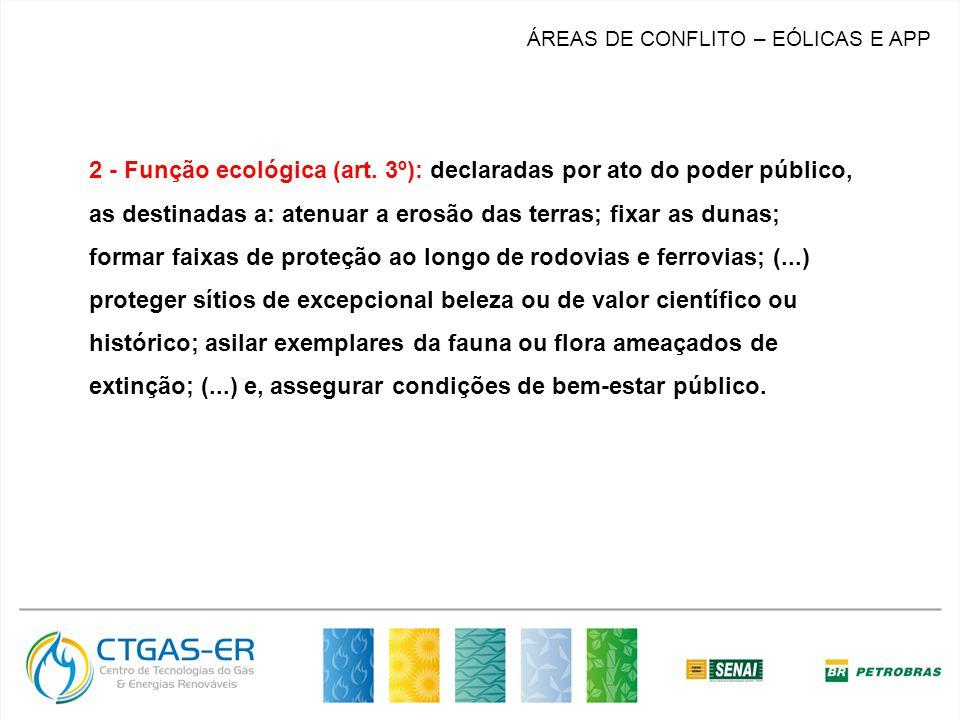 2 - Função ecológica (art. 3º): declaradas por ato do poder público, as destinadas a: atenuar a erosão das terras; fixar as dunas; formar faixas de pr