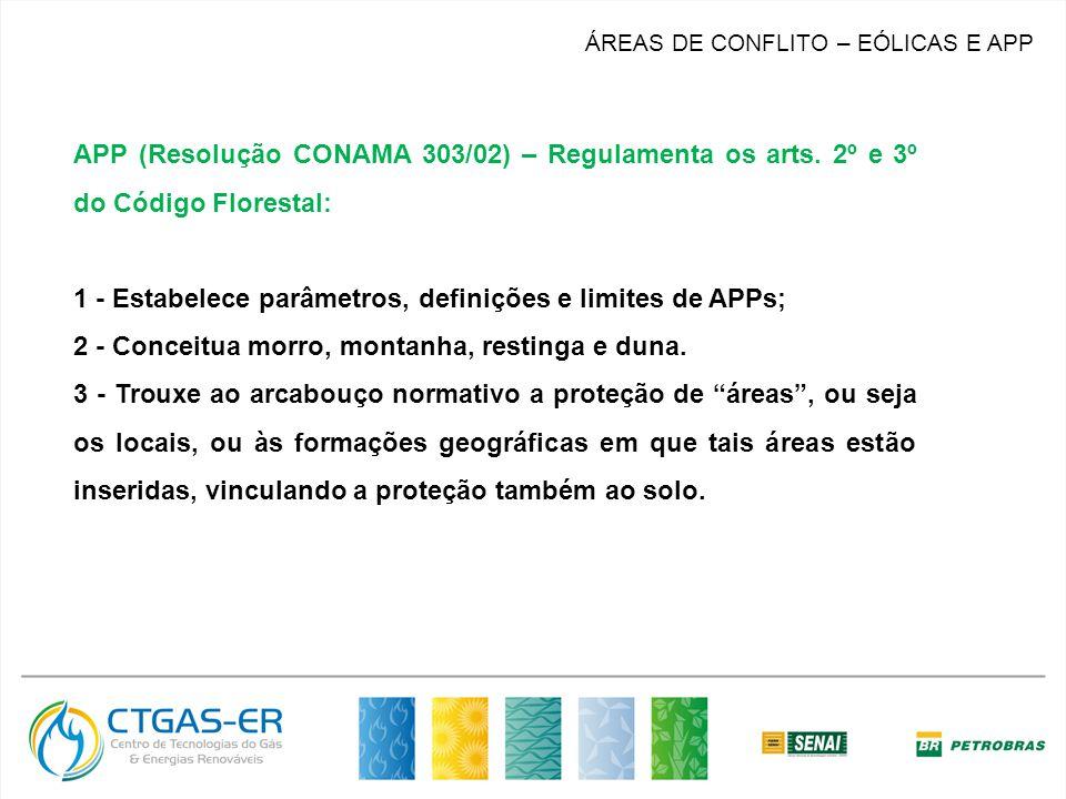 ÁREAS DE CONFLITO – EÓLICAS E APP APP (Resolução CONAMA 303/02) – Regulamenta os arts. 2º e 3º do Código Florestal: 1 - Estabelece parâmetros, definiç