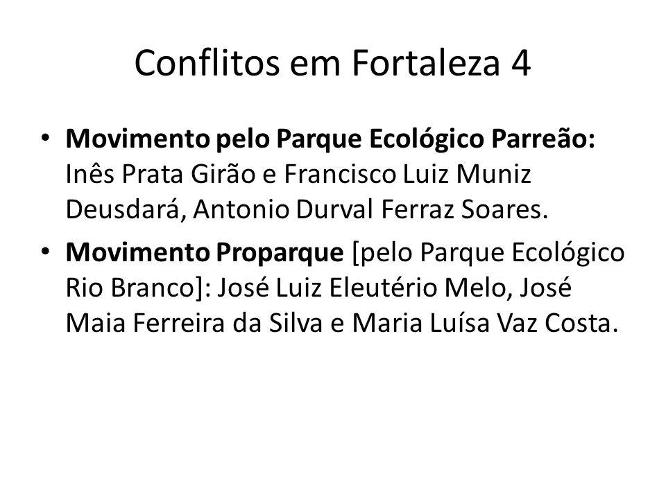 Conflitos em Fortaleza 4 Movimento pelo Parque Ecológico Parreão: Inês Prata Girão e Francisco Luiz Muniz Deusdará, Antonio Durval Ferraz Soares.
