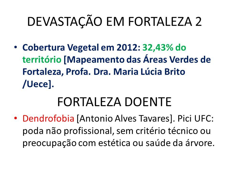 DEVASTAÇÃO EM FORTALEZA 2 Cobertura Vegetal em 2012: 32,43% do território [Mapeamento das Áreas Verdes de Fortaleza, Profa.
