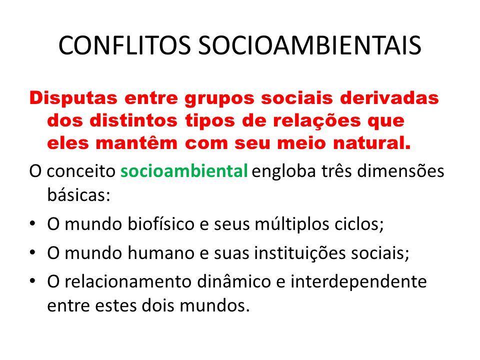 CONFLITOS SOCIOAMBIENTAIS Disputas entre grupos sociais derivadas dos distintos tipos de relações que eles mantêm com seu meio natural.