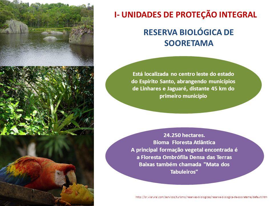 I- UNIDADES DE PROTEÇÃO INTEGRAL RESERVA BIOLÓGICA DE SOORETAMA http://br.viarural.com/servicos/turismo/reservas-biologicas/reserva-biologica-de-soore