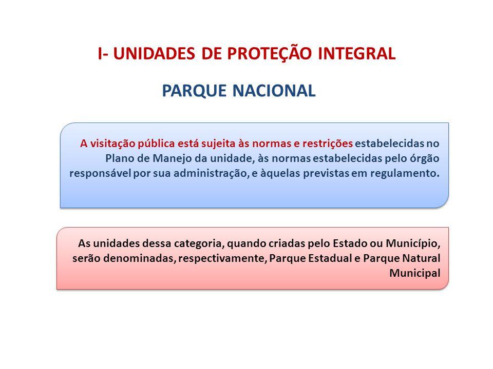 As unidades dessa categoria, quando criadas pelo Estado ou Município, serão denominadas, respectivamente, Parque Estadual e Parque Natural Municipal I