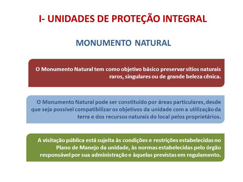 I- UNIDADES DE PROTEÇÃO INTEGRAL MONUMENTO NATURAL O Monumento Natural tem como objetivo básico preservar sítios naturais raros, singulares ou de gran
