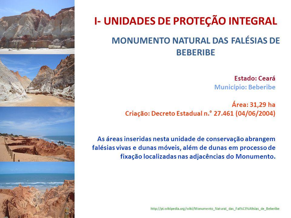 I- UNIDADES DE PROTEÇÃO INTEGRAL MONUMENTO NATURAL DAS FALÉSIAS DE BEBERIBE Estado: Ceará Município: Beberibe Área: 31,29 ha Criação: Decreto Estadual