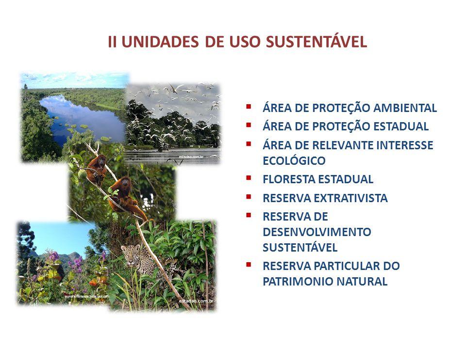 II UNIDADES DE USO SUSTENTÁVEL ÁREA DE PROTEÇÃO AMBIENTAL ÁREA DE PROTEÇÃO ESTADUAL ÁREA DE RELEVANTE INTERESSE ECOLÓGICO FLORESTA ESTADUAL RESERVA EX