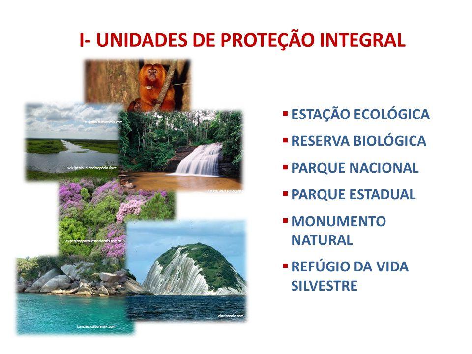I- UNIDADES DE PROTEÇÃO INTEGRAL ESTAÇÃO ECOLÓGICA RESERVA BIOLÓGICA PARQUE NACIONAL PARQUE ESTADUAL MONUMENTO NATURAL REFÚGIO DA VIDA SILVESTRE Wikip