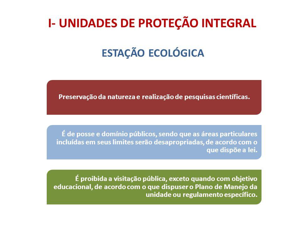 I- UNIDADES DE PROTEÇÃO INTEGRAL ESTAÇÃO ECOLÓGICA É de posse e domínio públicos, sendo que as áreas particulares incluídas em seus limites serão desa
