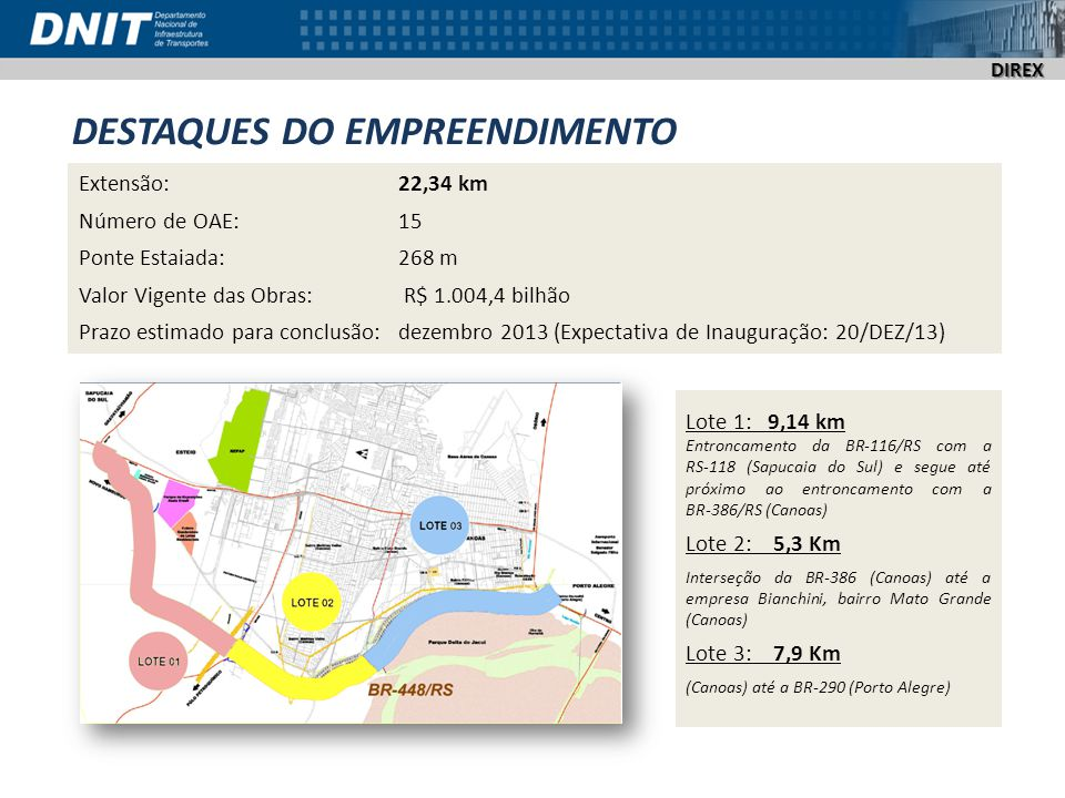 DIREX DESTAQUES DO EMPREENDIMENTO Extensão: 22,34 km Número de OAE: 15 Ponte Estaiada: 268 m Valor Vigente das Obras: R$ 1.004,4 bilhão Prazo estimado