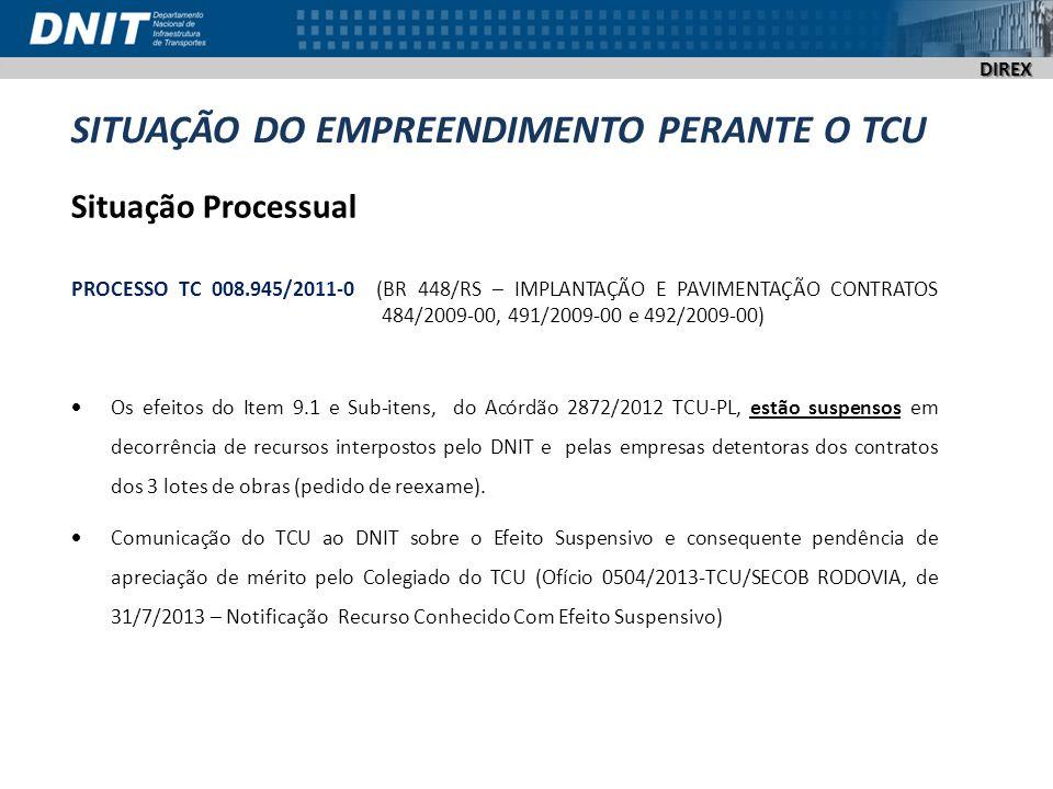 DIREX SITUAÇÃO DO EMPREENDIMENTO PERANTE O TCU Situação Processual PROCESSO TC 008.945/2011-0 (BR 448/RS – IMPLANTAÇÃO E PAVIMENTAÇÃO CONTRATOS 484/20