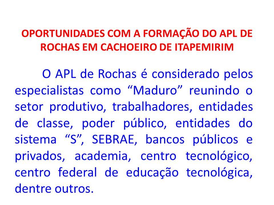OPORTUNIDADES COM A FORMAÇÃO DO APL DE ROCHAS EM CACHOEIRO DE ITAPEMIRIM O APL de Rochas é considerado pelos especialistas como Maduro reunindo o seto