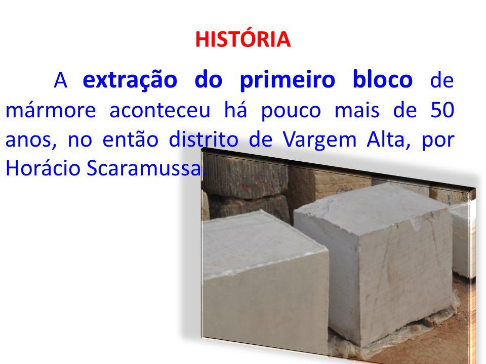 HISTÓRIA A extração do primeiro bloco de mármore aconteceu há pouco mais de 50 anos, no então distrito de Vargem Alta, por Horácio Scaramussa.