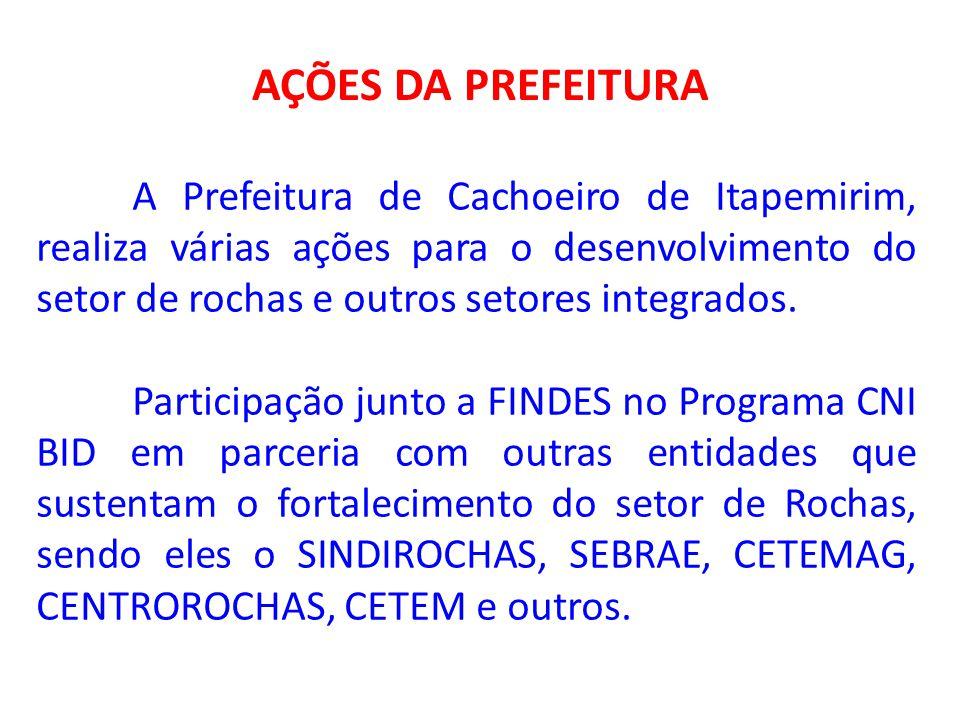 AÇÕES DA PREFEITURA A Prefeitura de Cachoeiro de Itapemirim, realiza várias ações para o desenvolvimento do setor de rochas e outros setores integrado