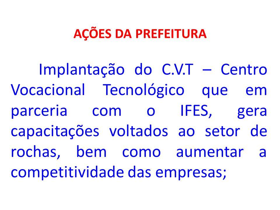 AÇÕES DA PREFEITURA Implantação do C.V.T – Centro Vocacional Tecnológico que em parceria com o IFES, gera capacitações voltados ao setor de rochas, be