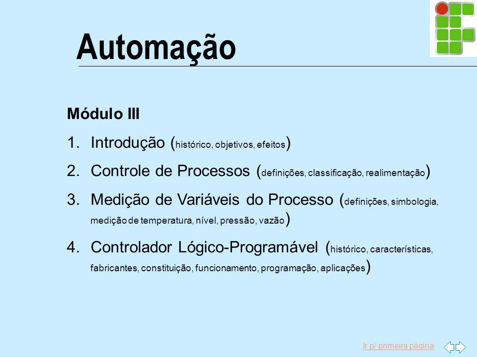 Ir p/ primeira página Automação Módulo III 1.Introdução ( histórico, objetivos, efeitos ) 2.Controle de Processos ( definições, classificação, realime
