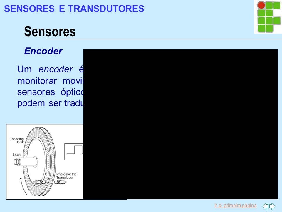 Ir p/ primeira página Sensores SENSORES E TRANSDUTORES Encoder Um encoder é um dispositivo eletromecânico que pode monitorar movimento ou posição. Um