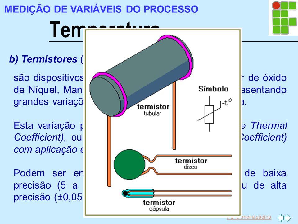 Ir p/ primeira página Temperatura MEDIÇÃO DE VARIÁVEIS DO PROCESSO b) Termistores (resistores termicamente sensíveis) são dispositivos semicondutores
