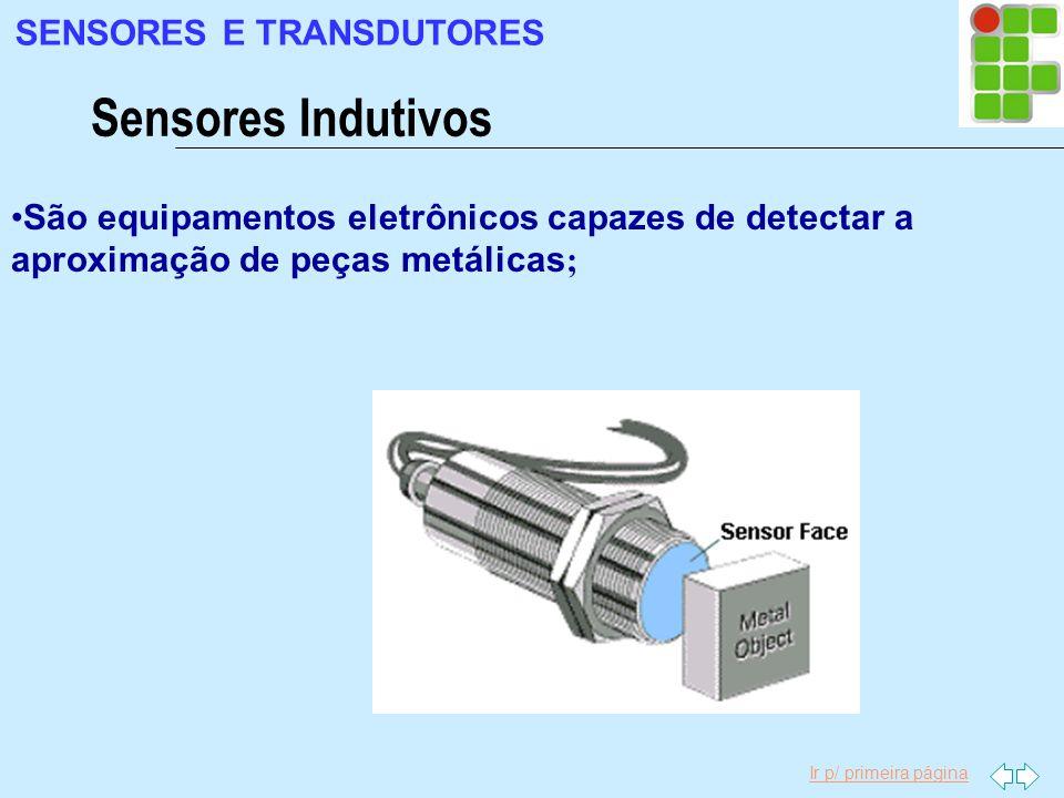 Ir p/ primeira página Sensores Indutivos SENSORES E TRANSDUTORES São equipamentos eletrônicos capazes de detectar a aproximação de peças metálicas ;
