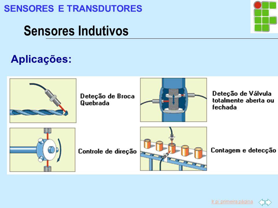 Ir p/ primeira página Aplicações: Sensores Indutivos SENSORES E TRANSDUTORES