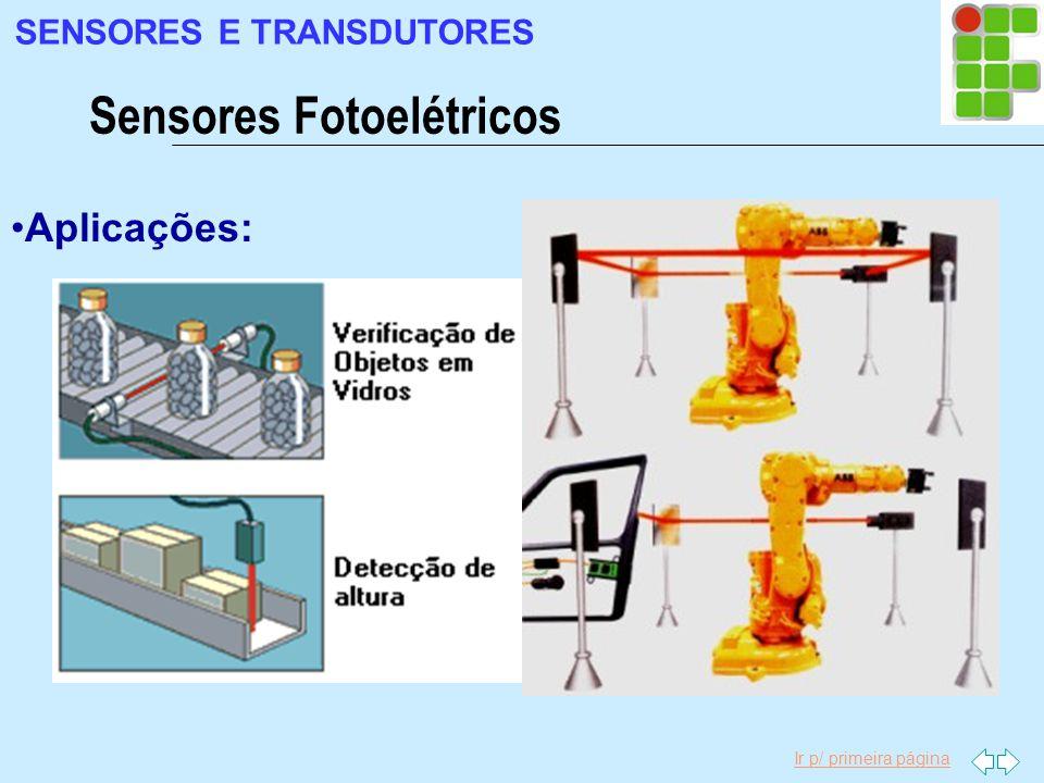 Ir p/ primeira página Aplicações: Sensores Fotoelétricos SENSORES E TRANSDUTORES