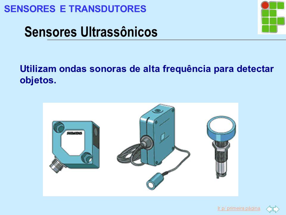 Ir p/ primeira página Utilizam ondas sonoras de alta frequência para detectar objetos. Sensores Ultrassônicos SENSORES E TRANSDUTORES