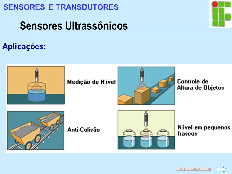 Ir p/ primeira página Aplicações: Sensores Ultrassônicos SENSORES E TRANSDUTORES