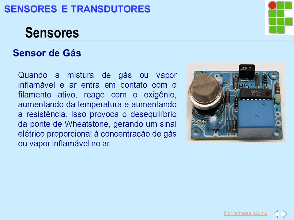 Ir p/ primeira página Sensor de Gás Sensores SENSORES E TRANSDUTORES Quando a mistura de gás ou vapor inflamável e ar entra em contato com o filamento