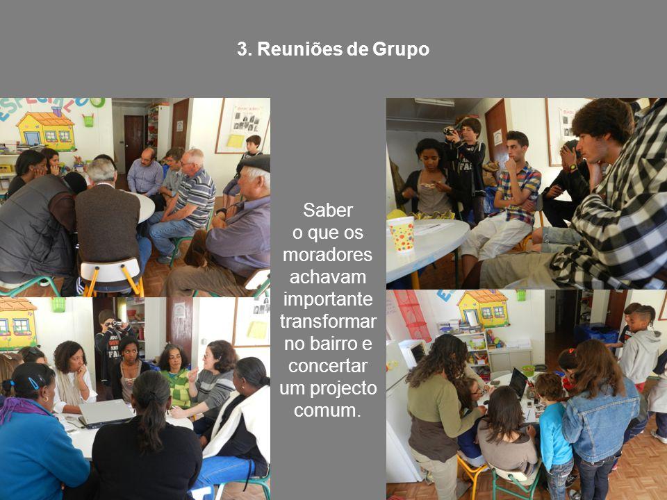 3. Reuniões de Grupo Saber o que os moradores achavam importante transformar no bairro e concertar um projecto comum.